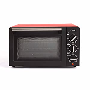 Livoo - Mini Horno Eléctrico Compacto 14 L   3 Modos de Cocción, Termostato ajustable 230°C   Estante + Bandeja de goteo incluida   1200 W DOC210 ...