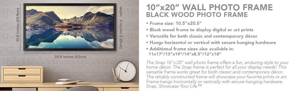 Amazon.com: Snap 10x20 Black Wood Wall Photo Frame: Home & Kitchen