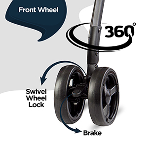 360 degree Front Wheel with Swivel Lock & Brake: