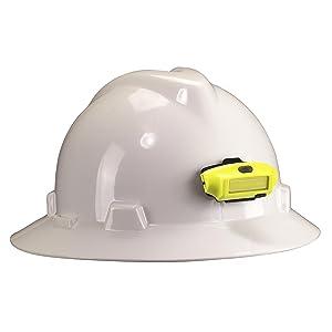 Streamlight 61700 Bandit Headlamp, Yellow, clipped to white hard hat.