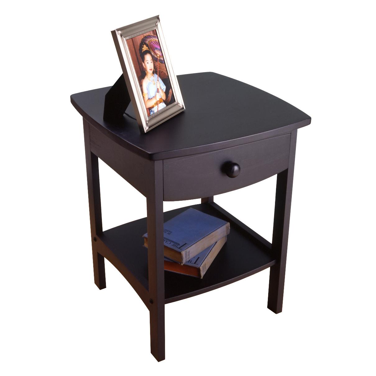 Winsome wood end table night stand with drawer for Black wood end tables