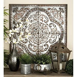 Deco 79 55472 Wall Plaque Lavished with Antiqued Distressed Finish
