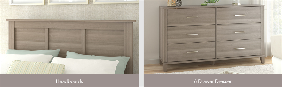 Bush Furniture Somerset Collection Nightstand in Ash Gray