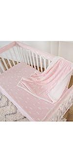 crib rail cover bedding set pink cloud