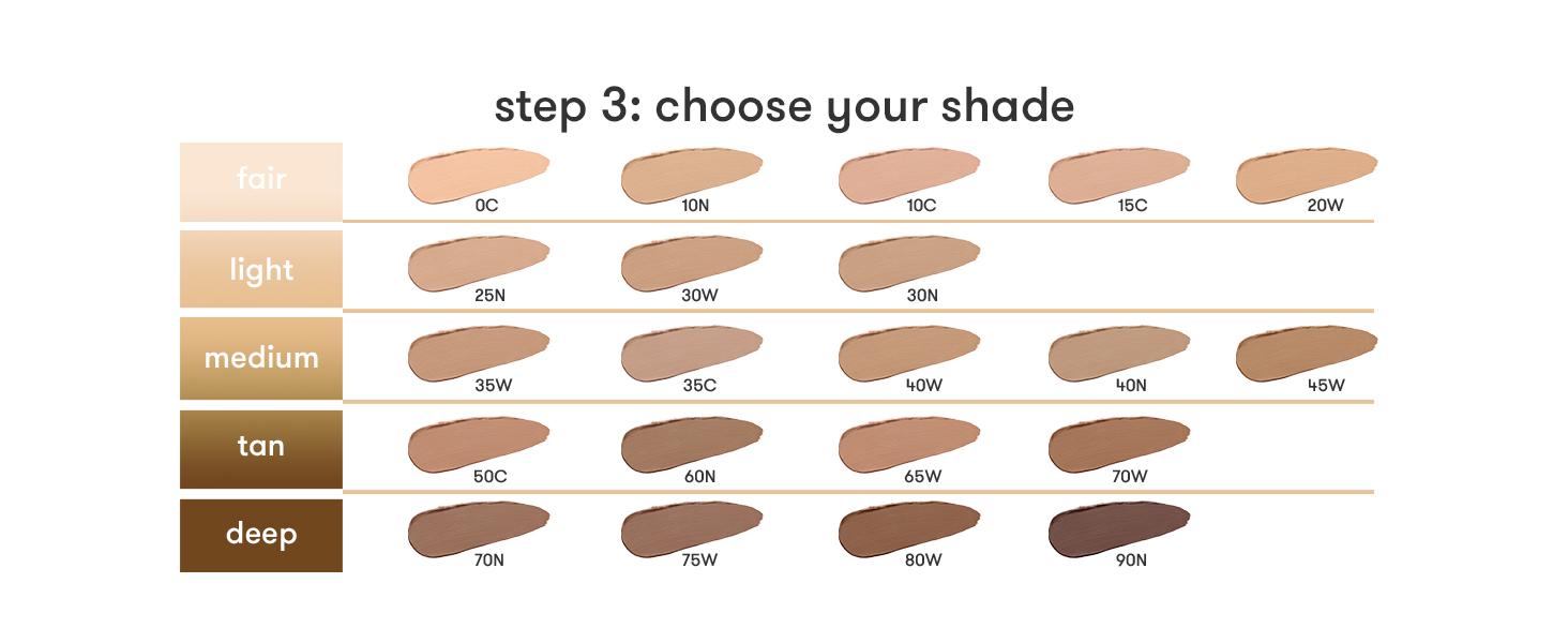 cover creme shade charts