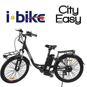 ibike city easy  i-Bike City Easy Bicicletta Elettrica Unisex - Adulto, Nero, 180 x ...
