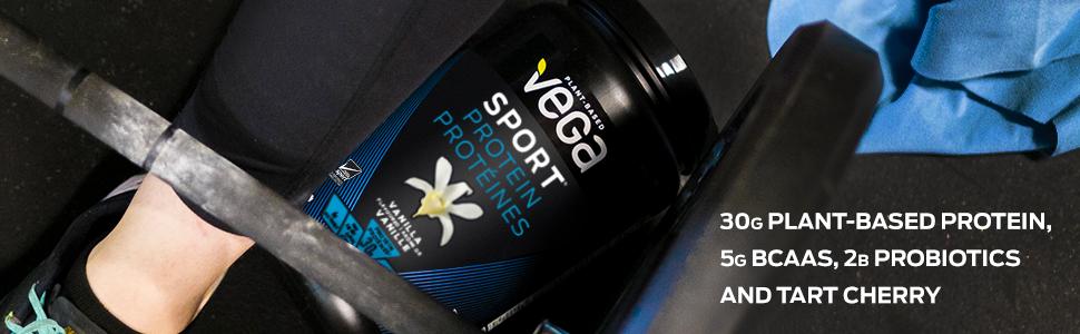 30g Plant Based Vegan Protein, BCAAs, Probiotics, Tart Cherry