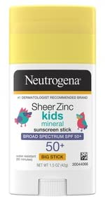 Neutrogena Sheer Zinc Oxide Kids Dry Touch Mineral Sunscreen Stick with Broad Spectrum