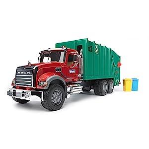 Bruder toys, bruder, Mack granite, Mack granite garbage truck, garbage truck, rear loading