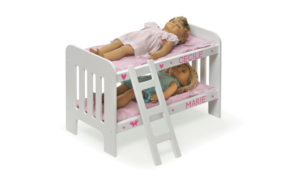 Amazon Com Badger Basket Gingham Doll Bunk Bed With Ladder Bedding And Free Personalization Kit Fits American Girl Dolls White Gingham Toys Games