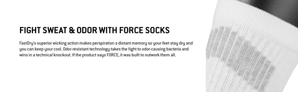 Fight sweat and odor with Force sweat wicking performance socks for men