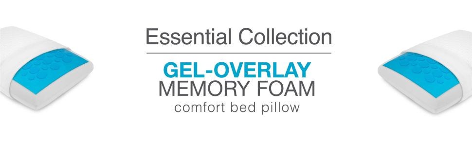 Essential Collection, Gel Overlay, Memory Foam, Comfort Bed Pillow