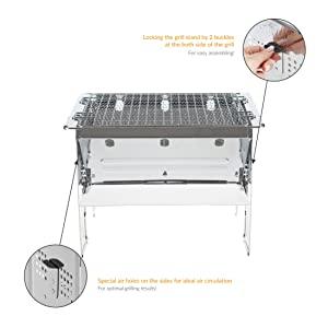 Bruzzzler To-go Barbacoa de carbón vegetal plegable, de camping, portátil, adecuado para exteriores, carbón o briquetas, acero inoxidable