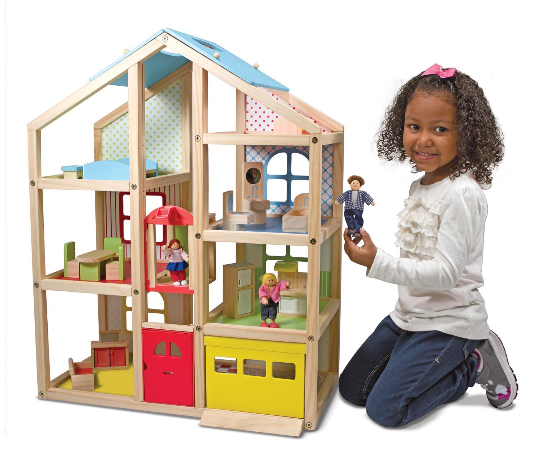 Amazon Com Melissa Amp Doug Hi Rise Wooden Dollhouse With