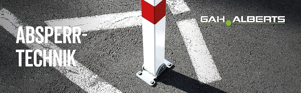 450 x 950 mm Profilzylinderschloss mit roten Ringen zum Aufschrauben GAH-Alberts 770037 Parkplatzb/ügel Stoppy I feuerverzinkt
