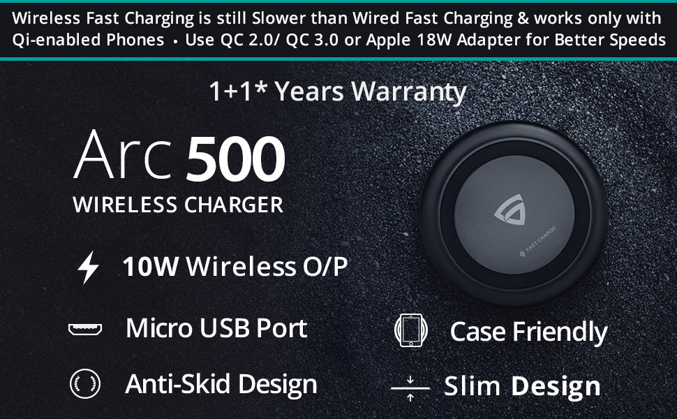 RAEGR Arc 500 Qi Certified 10W Wireless Charger/Charging Pad