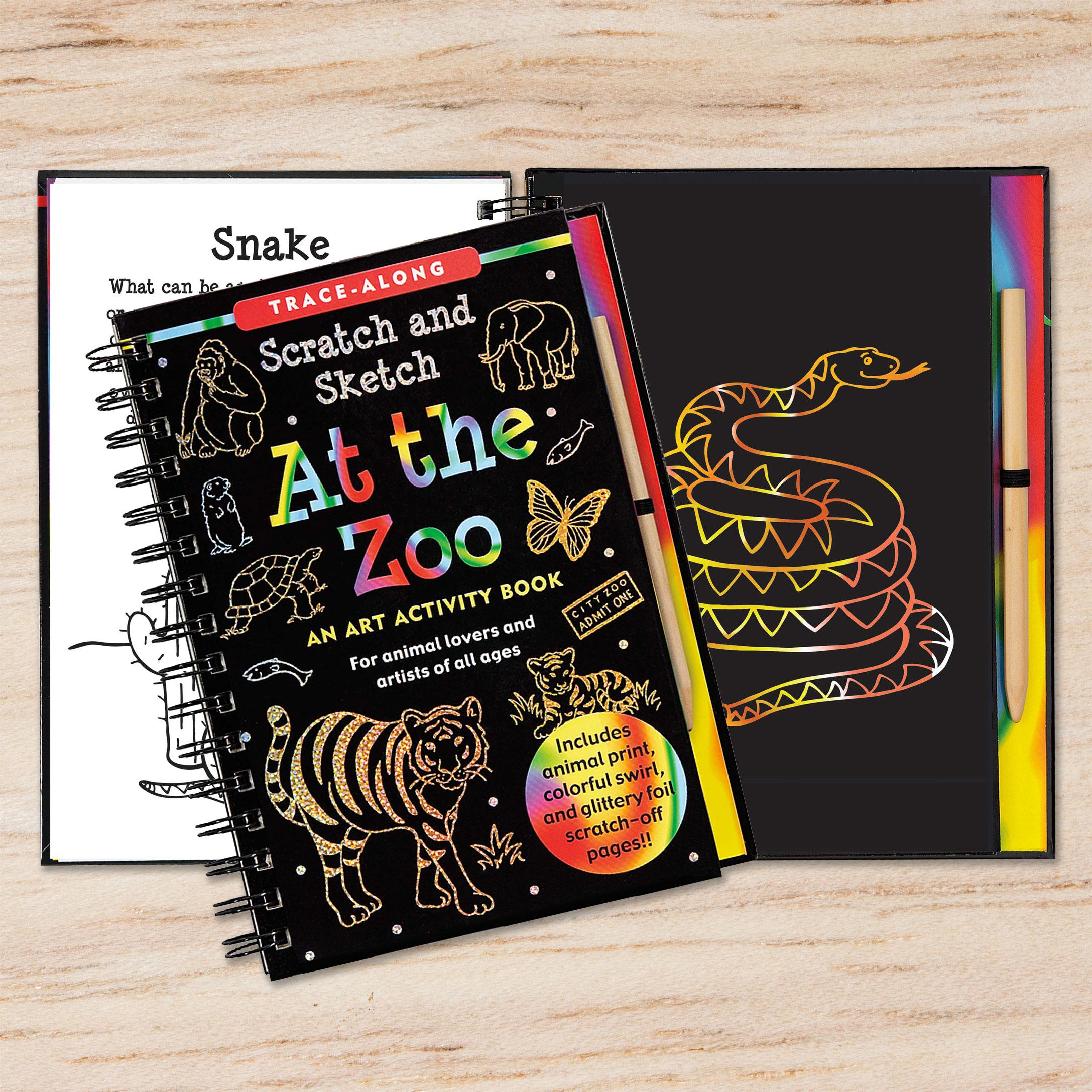 At the zoo scratch sketch an art activity book for animal lovers view larger fandeluxe Image collections