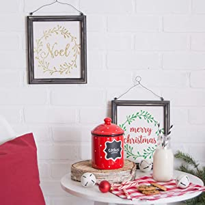 NOEL amp; MERRY CHRISTMAS HANGING SIGNS SET/2