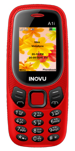Inovu A1i red, feature mobile phone, keypad phone, basic mobile, dual sim phone, keypad mobile phone