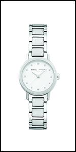 Rebecca Minkoff, watch, minkoff,stainless steel, bracelet, silver,white dial, white,
