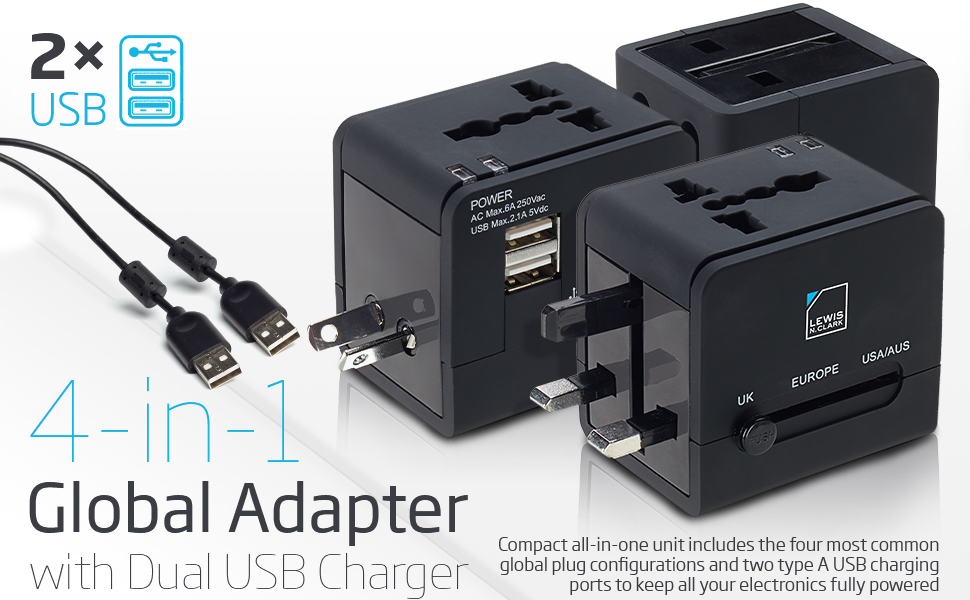 charger AC power plug adapter for phones mobiles and laptop dual USB charging built safety shutters