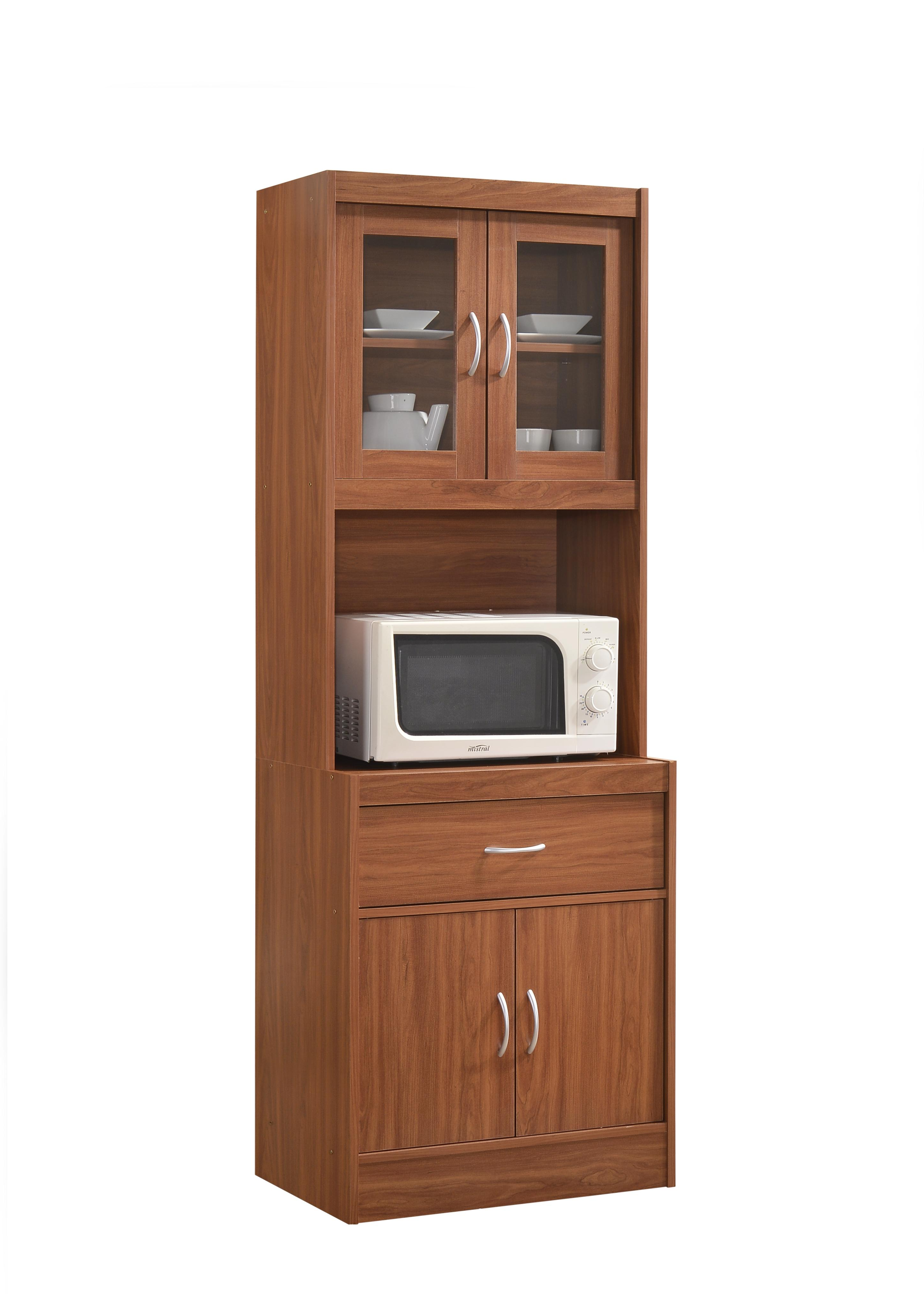 Hodedah Long Standing Kitchen Cabinet With Top Bottom Enclosed Cabinet Space One