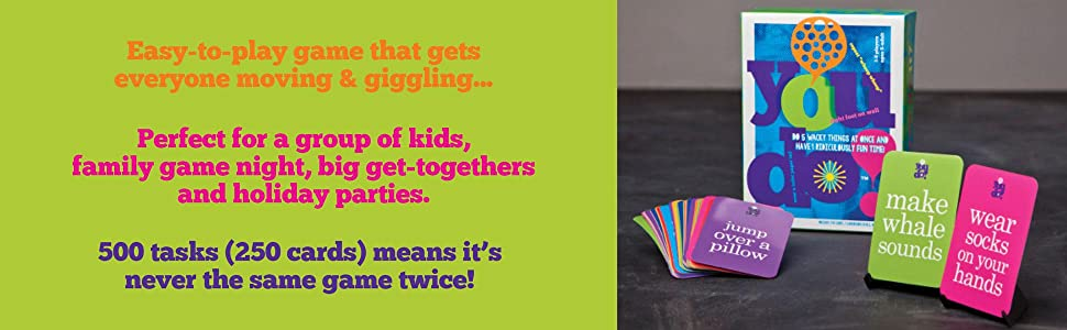 Easy-to-play game that gets everyone moving & giggling...Perfect for kids, family game night