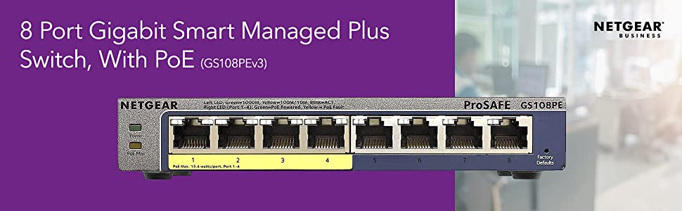 8 port gigabit smart managed plus switch with poe gs108pev3