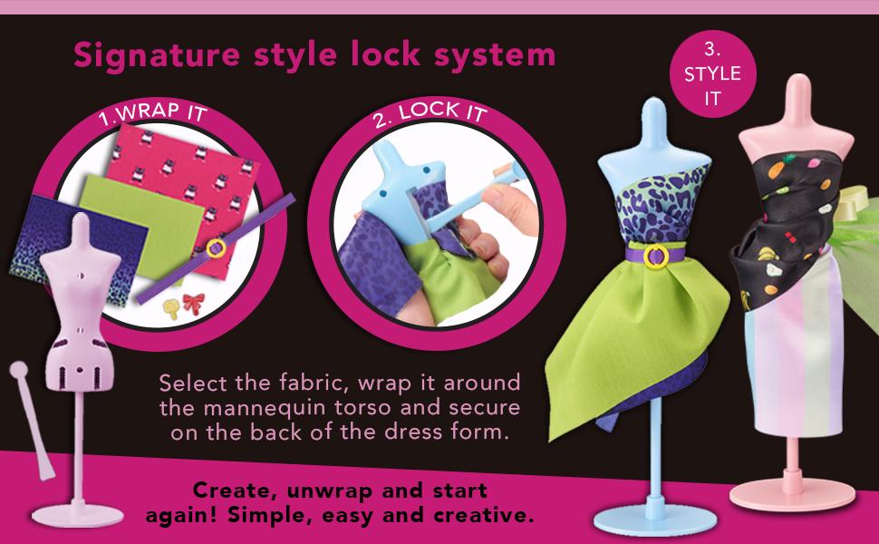 style lock system; fabrics; wrap it; mannequin; torso; dress form; wrap it; lock it