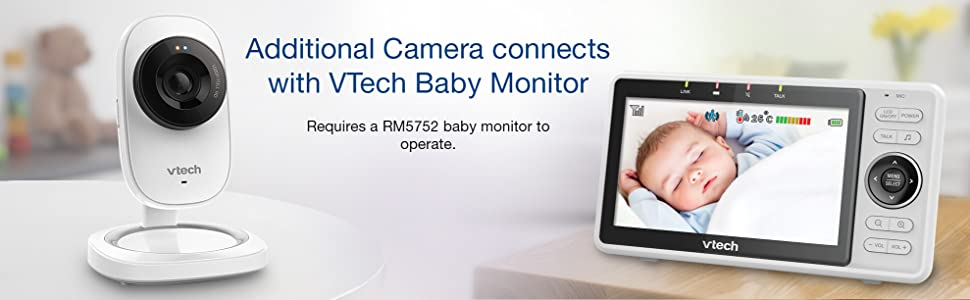 Additional camera connects with VTech baby monitor