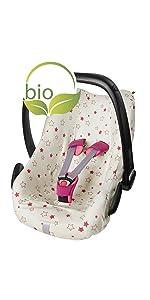 ByBoom Sommerbezug, Schonbezug für Babyschale aus 100% BIO-Baumwolle mit Motiv, Universal für z.B. M