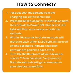 PTron Bassbuds True Wireless Earbuds