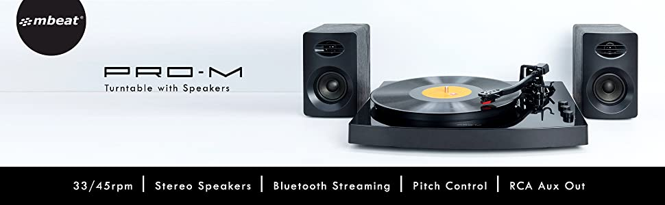 pro-m, mb-tr518k, usb turntable, vinyl record player, bluetooth wireless turntable with speakers
