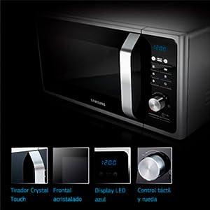 Samsung MG23F301TAK/EC - Microondas con grill, 800W/1100 W, 23 litros, interior cerámico Enamel, sistema de ondas TDS, color Negro