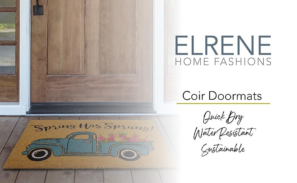 elrene home fashions farmhouse living collection spring has sprung coir doormat, farmhouse truck