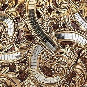 table,lamp,lighting,shade,patttern,mirror,tiles,leaves,gold,brown,metallic,finial,base,detailed