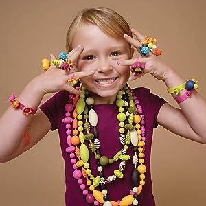 creative toy for girl birthday pop it lock bead kit art craft idea toy non-toxic plastic costume kit