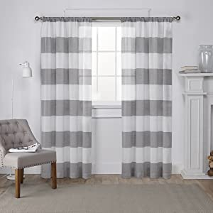Exclusive Home Curtains Loha Linen Grommet Top Curtain Panel Pair, 52x63,  Black Pearl