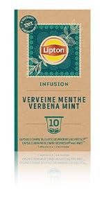 Lipton Infusion Verveine Menthe Fraîche 10 capsules, tisane, détente, thé a la menthe, thé capsules