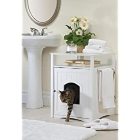cat washroom, litter box, white, MPS006, night stand