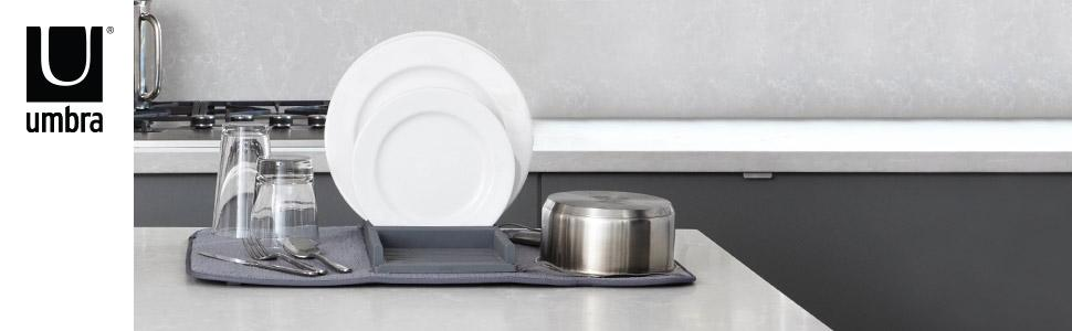 umbra udry dish drying rack microfiber mat