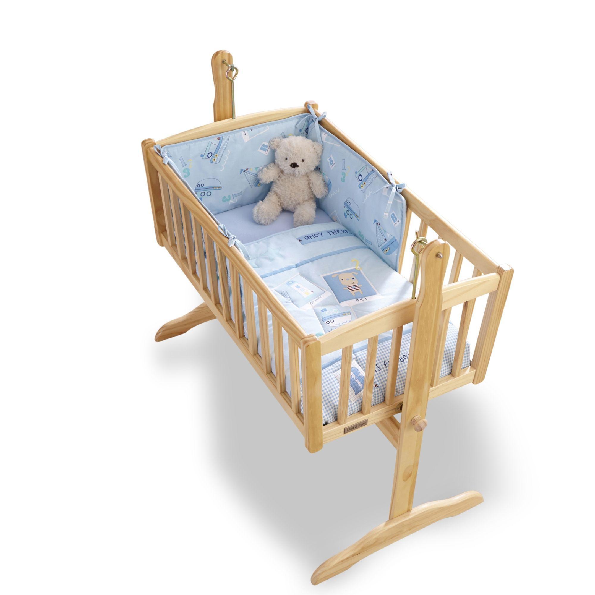 Handmade Moses Basket Bedding : Clair de lune ahoy rocking crib bedding includes quilt and