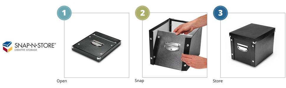 schwarz 3 x 5 Inches Schwarz Snap-N-Store Karteikarten-Boxen