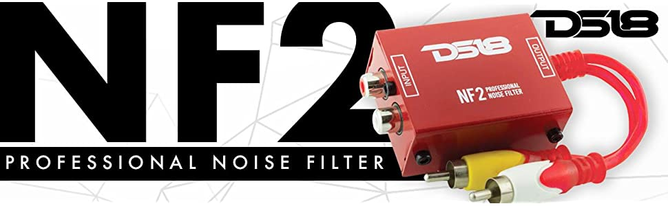 DS18 NF2 Professional Noise Filter Eliminates and Stops The Hum Noise! Ground Loop Isolator for Car Audio Systems