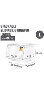 HOUZE STACKABLE SLIDING LID DRAWER (LARGE)