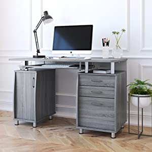 office home desk grey chocolate