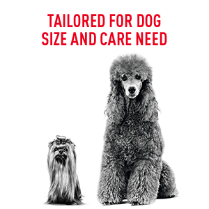 Royal Canin dog formulas are tailored for dog size and care need