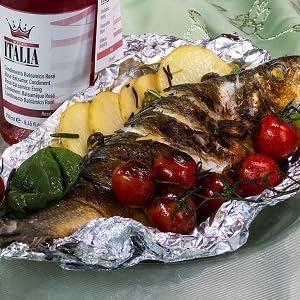 Spigola; Spigola e condimento rosé; Spigola al cartoccio; Condimento Balsamico Rosé; Acetaia Italia;