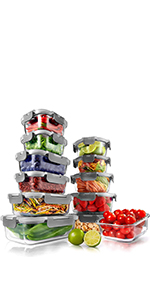 Food Storage;Stackable Superior Glass Meal-prep;Meal-prep Containers;Glass container;Leakproof