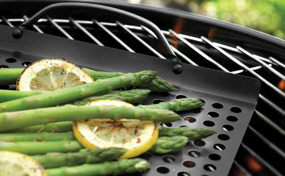Grill Grid BBQ Topper with holes non stick outset weber char-broil with handles professional grade